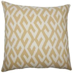 The Pillow Collection Yasunari Geometric Bedding Sham Size: Euro, Color: Alabaster