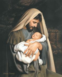 I just LOVE this. Joseph doesn't get enough recognition- and how wonderful that the model is the real life father of the baby in this painting!