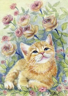 ACEO Original Miniature Watercolor Painting Cats by Elena Mezhibovsky I Love Cats, Cute Cats, Animals And Pets, Cute Animals, Photo Chat, Tier Fotos, Ginger Cats, Cat Drawing, Cat Art