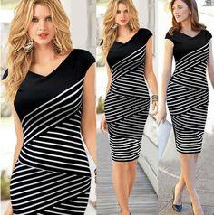 2014 New Summer Women dress Fashion Black and white