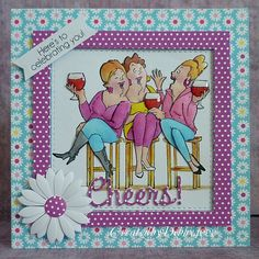 Art Impressions Rubber Stamps: Ai Girlfriends: Wine Tasters set .... handmade card.