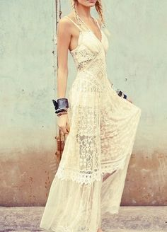 Dress: maxi lace cream white lace boho boho braids spaghetti strap halter halter white bag