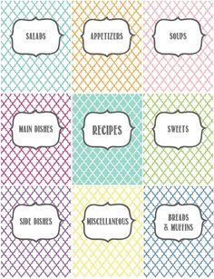 Recipe Binder Printables by Melanie Gets Married: organize your recipes with these pretty cover pages!
