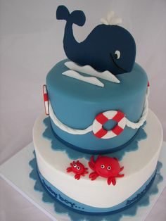 whale cake - this one is so cute!  I love the life preserver rings :)