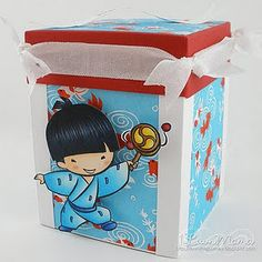Cute box made with sister stamps - See www.SisterStamps.com for Sister Stamp images and Japanese washi paper.