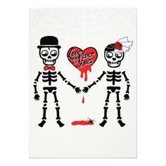 """Love Never Dies"" Halloween Wedding Invitation 5"" X 7"" Invitation Card"