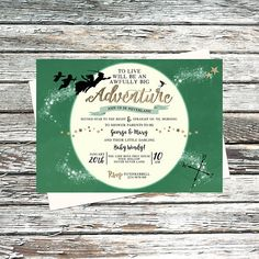 Personalised Neverland Baby Shower Invitations, Peter Pan tinkerbell Invite, Green, Gold, To live will be an awfully big adventure party set Neverland Invitation, Peter Pan Party, Peter Pan And Tinkerbell, Diaper Raffle Tickets, Never Grow Up, 1st Birthdays, Baby Shower Invitations, Baptism Invitations, Invites