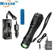 US $9.00 RUzk10 LED flashlight 8000 LM XM-L T6 Torch Zoomable led flashlight with AC charger + battery + car charger. Aliexpress product