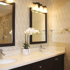Traditional Bathroom Wallpaper Design, Pictures, Remodel, Decor and Ideas - page 16