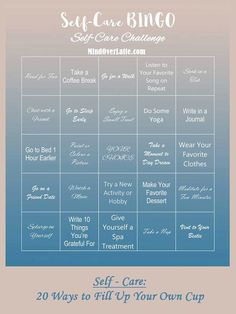 20 Ways to 'Fill Your Own Cup' Challenge yourself with this amazing Self-Care Bingo and enjoy every minute of taking a moment for yourself!Challenge yourself with this amazing Self-Care Bingo and enjoy every minute of taking a moment for yourself! Bingo, Psych, Affirmations, Listen To Reading, Mental Break, Calming Music, Self Care Activities, Mental Health Activities, Yoga Journal