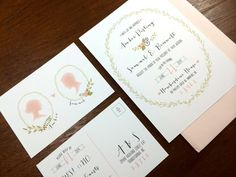 Wedding Invitations- Vintage Watercolor // Blush, Rose, Mint // Silhouette // Wreath // Calligraphy