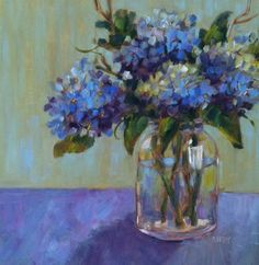 DPW Fine Art Friendly Auctions - Stage Right by Libby Anderson Wine And Paint Night, Wine Painting, Floral Artwork, Fine Art Gallery, Love Art, Art For Sale, Original Art, Illustration Art, Hydrangeas
