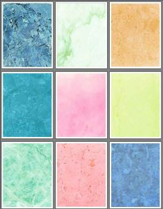 Marble Set 3 is lucious fantasy colors useful for scrapbooks, rubber stamping and craft projects