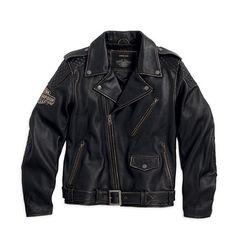 - Vintage Leather Biker Jacket - Harley-Davidson Mens - Tall available - From - Leather Vintage Leather Jacket, Biker Leather, Leather Men, Cowhide Leather, Harley Davidson Merchandise, Harley Davidson Leather Jackets, Best Leather Jackets, Riding Jacket, Men's Jacket
