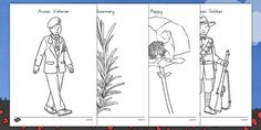 Use these handy colouring sheets with your children for your lessons around Anzac Day. Teacher made resource. Soldier Silhouette, Anzac Day, Remembrance Day, Coloring Sheets, Colouring, School Themes, Fine Motor Skills, Poppies, Back To School