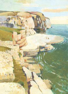 Dancing Ledge by Ronald Jesty Watercolor Sketch, Watercolor Artists, Watercolor Landscape, Landscape Art, Landscape Paintings, Harry Rocks, Dorset England, Art Pages, Creative Art