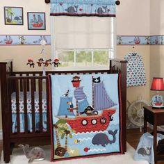 Blue Nautical Pirate Themed Baby Boy Sea Life Monkey 3p Nursery Crib Bedding Set