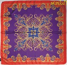 VERSACE purple and royal with Red BAROQUE Border silk Large scarf NEW Authentic #Versace #Scarf