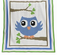 CROCHET Pattern  Baby Blanket Pattern  Blue Owl  von PatternWorldUK