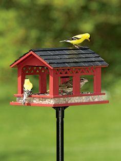 Covered Bridge Bird Feeder | Red Bird Feeder | Gardeners.com