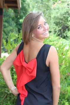 Gameday Bow Top: Black/Red