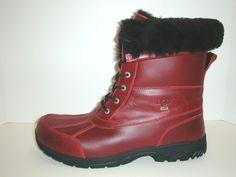 New Mens UGG Leather Boots BUTTE Dark Crimson Size 17 #UGG #SnowWinter