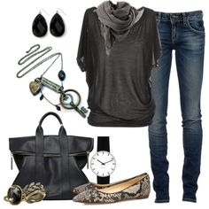 """Jeans and a Tee"" by mobaby22 on Polyvore"
