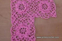 An easy and free crochet pattern for crochet kid's bolero, a pink bolero for 7 years old kid.