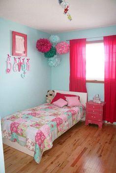 girls bedroom decor ideas. girls room. turquoise and pink bedroom. tween girls. big girl bedroom. #girlsroom #kidsroom #turquoise
