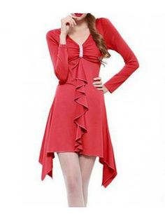 Shinny Red Cotton Long Sleeve High Low Dress