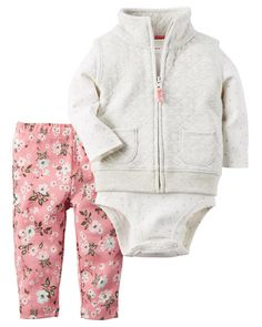 Carter's Baby Girls' Quilted Vest, Dot-Print Bodysuit & Floral-Print Leggings Set - Sets & Outfits - Kids & Baby - Macy's Carter's B. Baby Outfits, Outfits Niños, Kids Outfits, Fashion Kids, Little Girl Fashion, Baby Girl Vest, Carters Baby Girl, Baby Girls, Girls Christmas Outfits