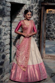 Lehenga Saree Design, Half Saree Lehenga, Lehnga Dress, Indian Lehenga, Saree Look, Lehenga Designs, Banarasi Lehenga, Kids Lehenga, Lehenga Gown