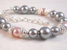 Flower Girl Bracelet Gray Grey and Pink Wedding by foreverandrea, $20.00