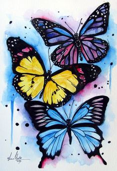 Colourful Butterflieswatercolour painting by www.fiona-clarke.com