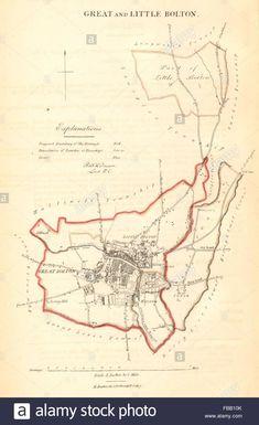 GREAT & LITTLE BOLTON borough/town plan. REFORM ACT. Lancashire. DAWSON 1832 map Stock Photo Bolton Lancashire, Liverpool History, Antique Maps, Family History, Acting, Births, Random Facts, Stock Photos, Art Prints