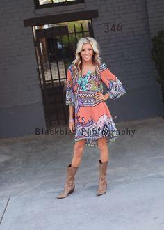 Dress, boots, hair