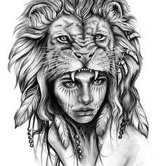 Wild---Different version (girl)--by Doriana Tattoo Girls, Girl Face Tattoo, Indian Girl Tattoos, Indian Head Tattoo, Indian Chief Tattoo, Indian Headdress Tattoo, Indian Women Tattoo, Indian Tattoo Design, Guerrero Tattoo