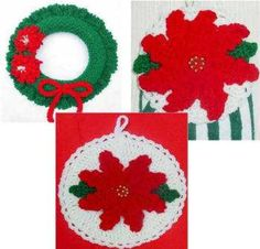 Poinsettia Set Pattern PS022 - Includes Poinsettia Towel Topper, Poinsettia Potholder, and Poinsettia Wreath Patterns. Crochet these beautiful patterns using worsted weight yarn in no time. Great Quic