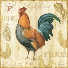 Roosters are favorite images for kitchen decorations in all over the world. A nice decoupage images archive would be incomplete without some cool rooster decoupage images.