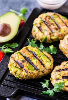 avocado burger with chipotle yogurt sauce avocado burger with chipotle yogurt sauce fried paleo martha brined sauce eating juicy inj ? Turkey Burger Recipes, Turkey Burgers, Chicken Recipes, Chipotle, Ground Chicken Burgers, Avocado Burger, Cilantro Chicken, Fresh Avocado, Avocado Art