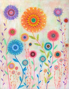Flower Painting Abstract Mixed Media Flower Painting Art by Sascalia