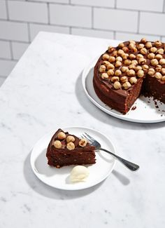 dark chocolate and hazelnut cake.