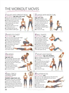 • THE WORKOUT MOVES •  1) squat & upright row: works legs, back, core & arms. 2) knees to chest: works abs. 3) burpees: works legs, bum & core. 4) full circle lateral raise: works shoulders, upper back & core. 5) lunge with bicep curl: works legs, core & arms. 6) ball twists: works core. 7) squat & swing: works legs, core & shoulders. 8) flutter kicks: works core.