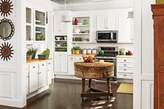 Crisp and Classic Kitchen Cabinet Ideas: Secondhand White Cabinets