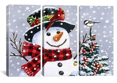 Snowman Art Prints | Home Snowman By William Vanderdasson Canvas Print #HOL52