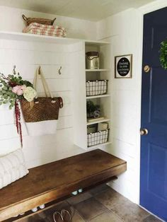 Mudroom Inspiration Ideas and Lowes How to build a floating bench for your mudroom. This space used to be a hallway closet, and now it is the perfect, spacious, and functional mudroom!Functional equivalence Functional equivalence can refer to Hallway Closet, Closet Space, Closet Doors, Closet To Mudroom, Front Hall Closet, Front Hallway, Closet Shelves, The Doors, Foyer Decorating