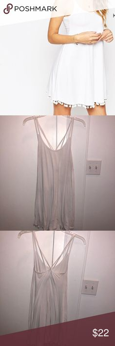 ASOS White Cotton Dress with Crossed Straps ASOS White Cotton Dress with Crossed Straps and Pom Pom Detail ASOS Dresses Mini
