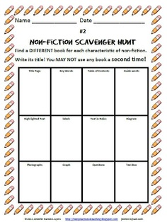 Fern's Freebie Friday ~ Non-Fiction Text Features Scavenger Hunt ~By www.FernSmithsClassroomIdeas.com