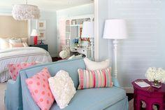 Suzie: Kristin Peake Interiors - Adorable blue girl's bedroom with Emma Feather pendant, blue ...