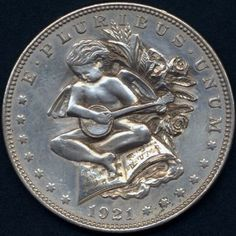 Ron Landis - Cupid Playing Banjo - Carving On 1921 Morgan Dollar Hobo Nickel, Banjo, Cupid, Folk Art, Knight, Coins, Carving, Gumbo, Silhouette